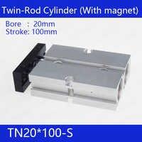 TN20 * 100-S 送料無料 20 ミリメートルボア 100 ミリメートルストロークコンパクトエアシリンダ TN20X100-S デュアルアクションエア空気圧シリンダ