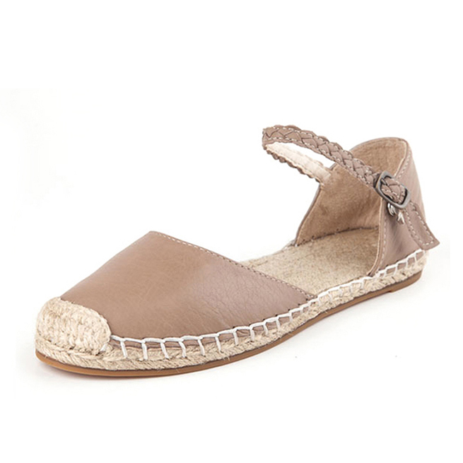 Women D orsay flats lady espadrille sandal genuine leather ankle strap sandals