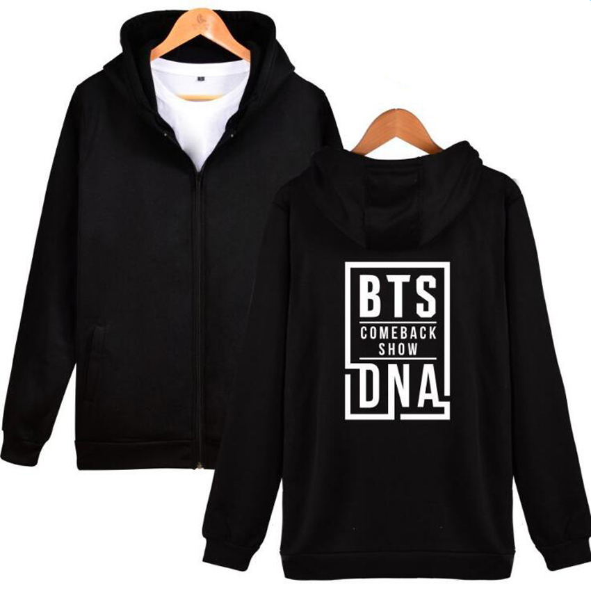 BTS Love Yourself Hooded Zipper Sweatshirt Women Men Bangtan Boys Outwear Hip-Hop Hoodie Album DNA Song Kpop Clothes streetwear