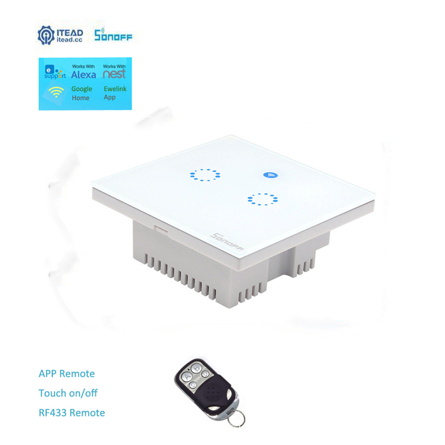 ITEAD Sonoff T1 Reino Unido Panel 2 WiFi hogar inteligente de la automatización de RF/APP/Touch Control de temporizador inalámbrica interruptor Google nido/Alexa