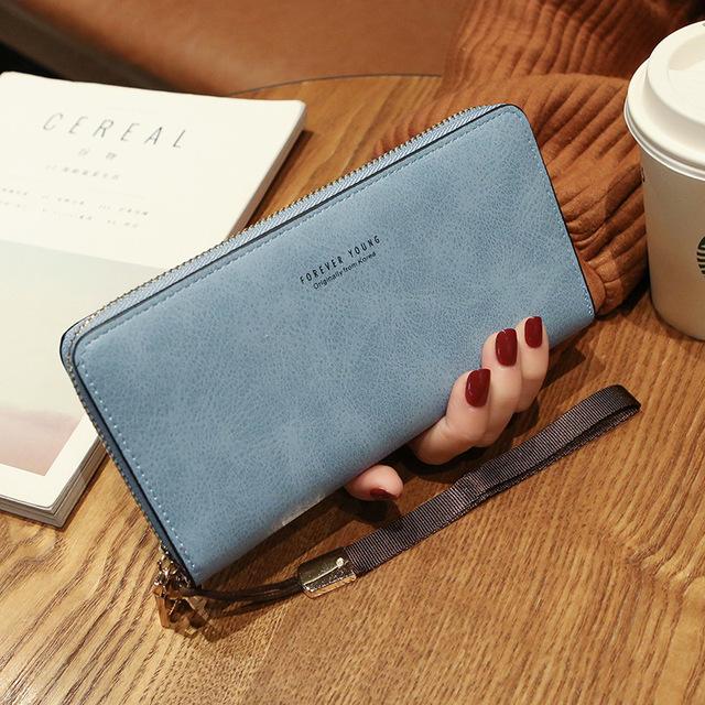 Female Wallet PU Leather Long Purse Black/pink/blue/green/gray