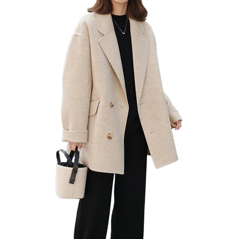Femmes De Femelle Casual Printemps Chaud Mélange brown Épais Couleur Manteau Pardessus Lady V757 Solide Laine Slim Manteaux 2019 black Lâche Automne Outwear Beige wnr6YqrI