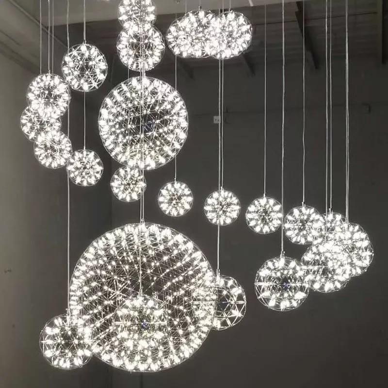 Aço Inoxidável criativo LED Pendant Light Dia 60/80 cm Moooi Raimond Firework Bola Pendente De Teto Luminária Lâmpadas iluminação para casa