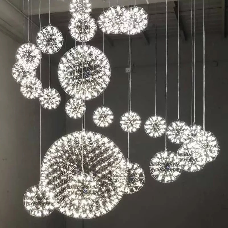 Creative Stainless Steel LED Pendant Light Dia 60/80cm Firework Ball Moooi Raimond Pendente De Teto Lamps Fixture Home Lighting