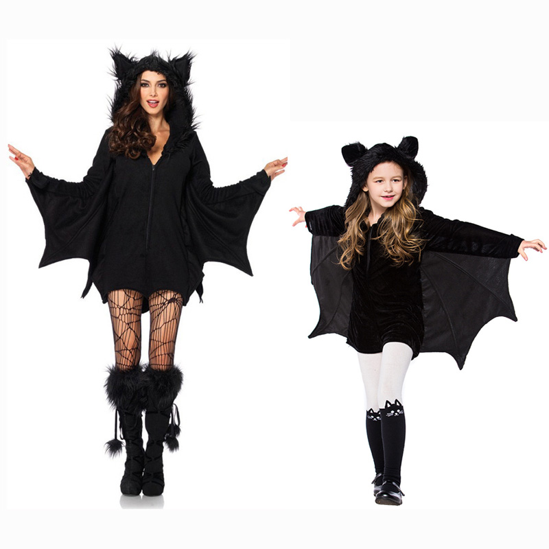 Black Night Wandering Ghost Vampire Witch Batman Mother and Child Dresses Halloween Costumes Cosplay For Woman Girls XS-2XL
