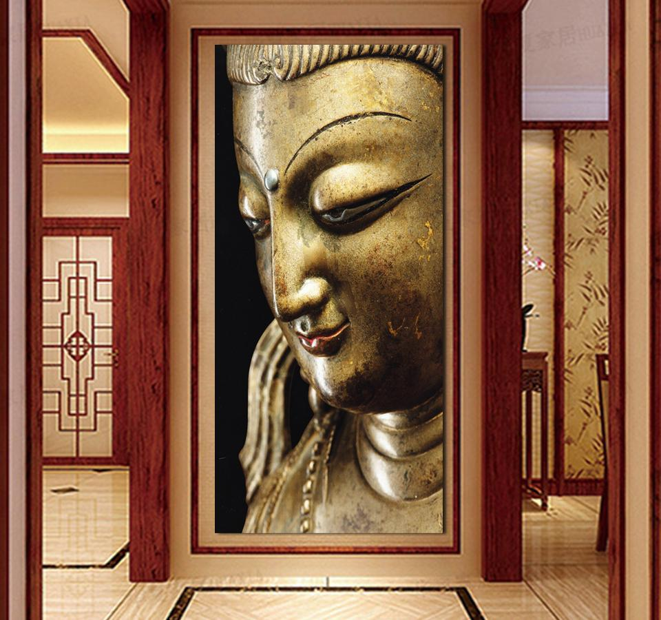 3 Panel Wall Art Religion gold Buddha Oil Painting On Canvas ...