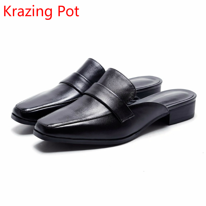 2018 Genuine Leather Brand Summer Shoes Square Toe Lazy Slingback Low Heels Women Sandals Streetwear Handmade Casual Shoes L212018 Genuine Leather Brand Summer Shoes Square Toe Lazy Slingback Low Heels Women Sandals Streetwear Handmade Casual Shoes L21