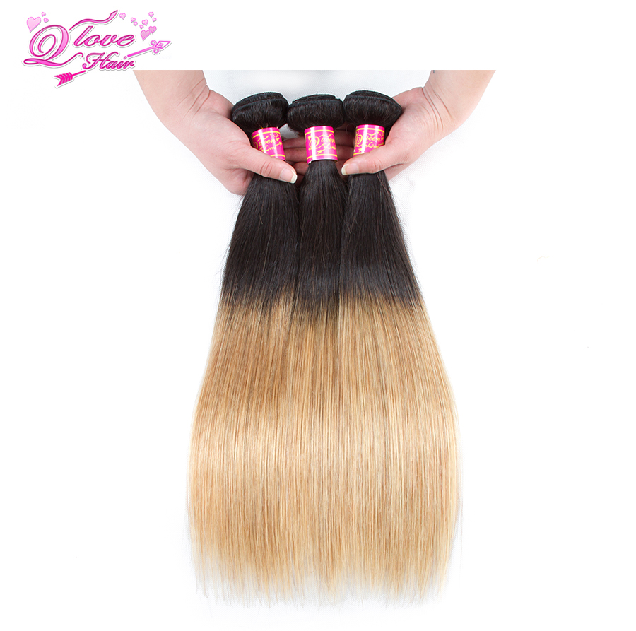 Queen Love Hair Malaysian Hair Straight Human Hair Extension Brazilian Hair Weave Bundles 1B/27 Two Tone Color Ombre Non-Remy