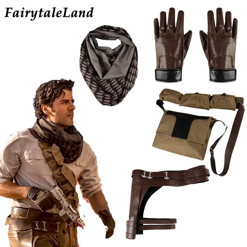Star Wars 9 Poe Dameron Costume Adult Halloween Cosplay Accessories Superhero Jedi  Poe Bag Gloves Scarf Clothing Custom Made