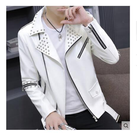 Men's jacket 2019 new spring Korean version of the handsome PU leather clothing motorcycle personality leather jacket