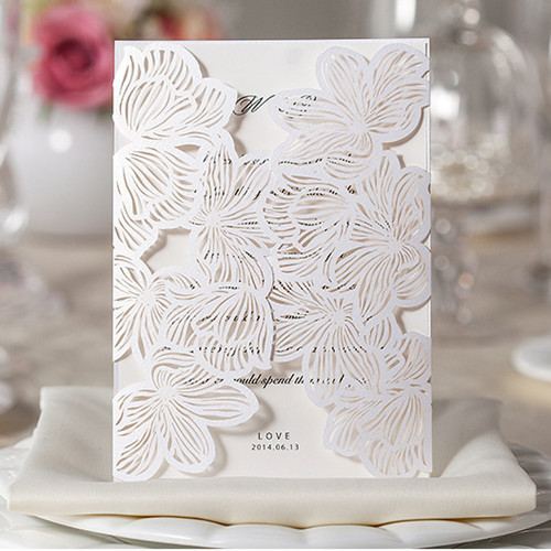H D Vintage Flower Laser Cut Simple Wedding Invitation Kits 60pc Lot