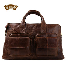 Free shipping man casual genuine leather handbag messenger bag large men travel bags suitcase weekend bag