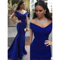 Дешевые Элегантные Длинные рыбий хвост Выпускной платья с открытыми плечами v образным вырезом атласная синий женские вечерние платья праз
