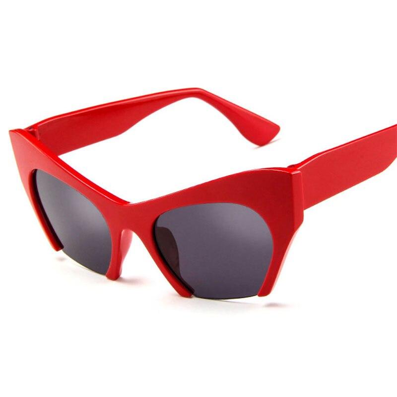 Retro Half Frame Cat Eye Women Sunglasses Fashion Red Silver Shades Uv400 Sun Glasses Female Big De Soleil Femme AAAR05