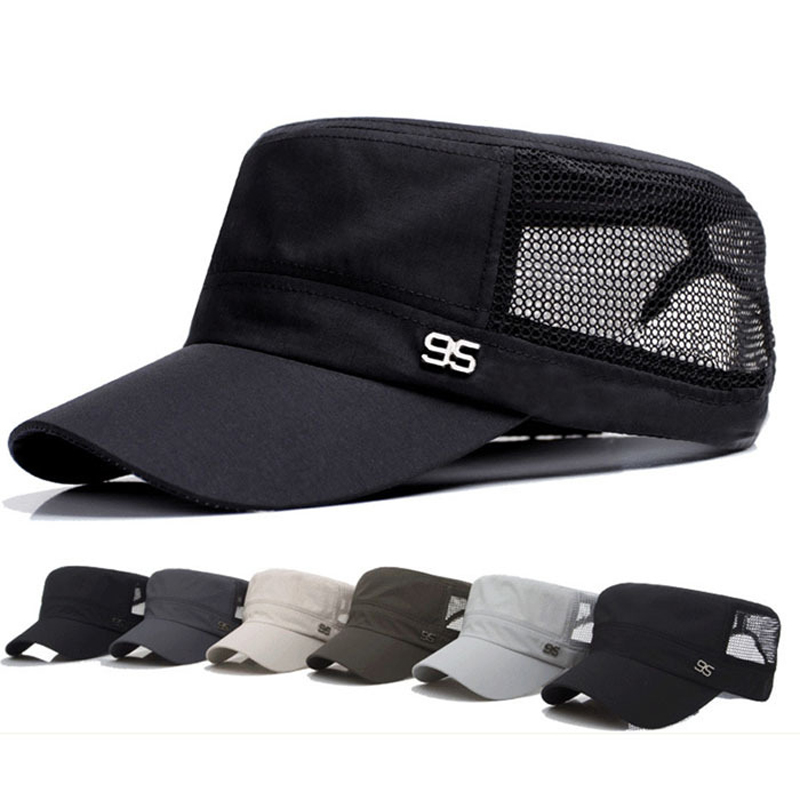 2017 Stylish Zinc Alloy 95 Logo Unisex Flat Roof Hat for Men Cadet Patrol Bush Mesh Base ...