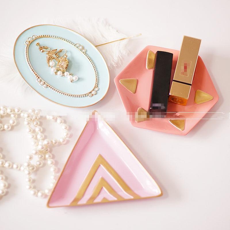 Europe Resin Jewelry Cosmetics Storage Dish Hexagonal Triangular Oval Plate Pink Purple Blue Lipstick Earrings Ring Tray Crafts
