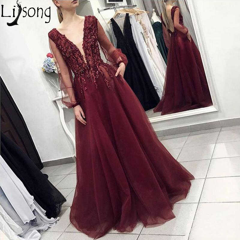 4d10c51369 2019 Elegant Wine Red Prom Dresses V Neck Long Sleeves Tulle Floor Length  Formal Dress Vintage