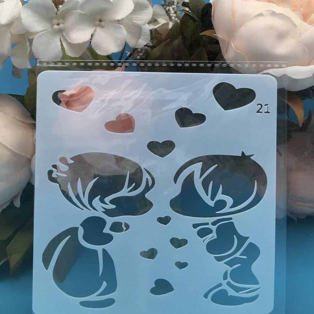 13cm Boy Girl Heart DIY Layering Stencils Wall Painting Scrapbook Coloring Embossing Album Decorative Card Template