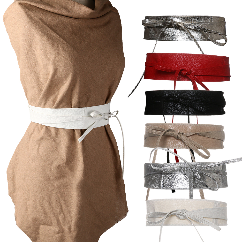 Fashion Metallic Color Soft Faux Leather Wide Belt 2