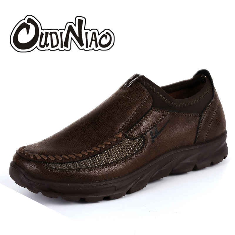 OUDINIAO Men Casual Shoes Large Sizes Soft Sewing Loafers Men Spring Hot Sale Breathable Slip On Business Fomal Men Shoes Black