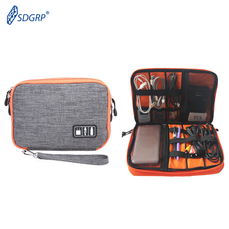 USB Cable Storage Bag Waterproof 2 Layer Electronic IPad Organizer Digital Gadget Case Travel Mobile Cellphone Charge Holder