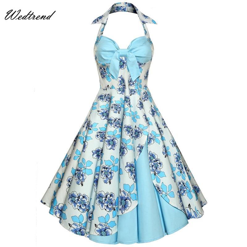 Wedtrend Halter Bow Floral Flowers Patchwork Vintage Dresses 1950s 1960 Audrey Hepburn Style Retro Dresses Free Shipping Dresses