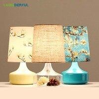 Ретро Стекло творческая личность настольная лампа Средиземноморский Стиль Настольная лампа для Гостиная исследование Спальня тумбочка ла