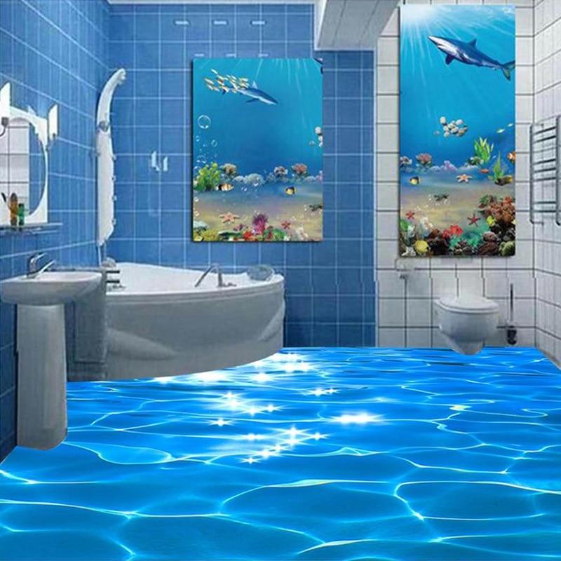 Custom Mural Wallpaper 3d Sea Wave Textured Bathroom Pvc Self