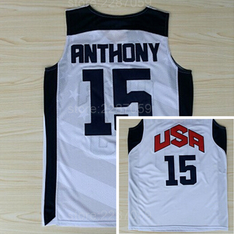 Ediwallen Hot Selling 15 Carmelo Anthony Jersey Men Basketball Dream Team Ten 2012 USA Jerseys Embroidery And Sewing Sleeveless ...
