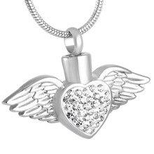 Silver Angel Heart Urn Pendant