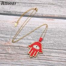 Rttooas Hamsa Hand Evil Eye Necklace Handmade MIYUKI Beads Lucky for Women Jewelry Accessories Gift