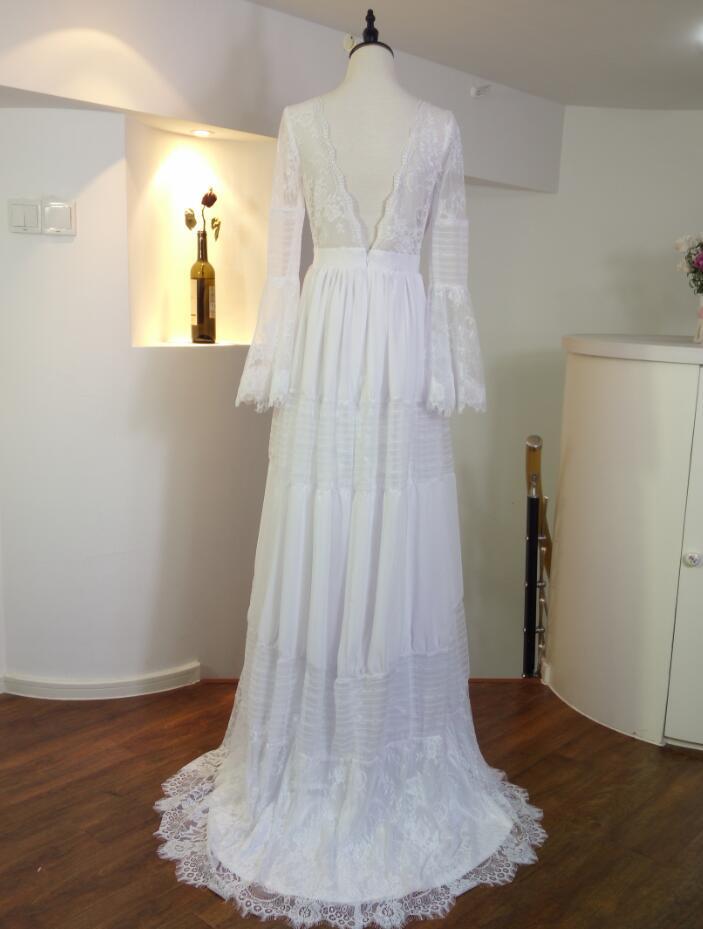 Gwendolyn Bohemian wedding Dresses V Neck Lace Vintage Summer Bridal Wedding Dress France charming Hot Gelinlik Vestido De noiva-in Wedding Dresses from Weddings & Events    3