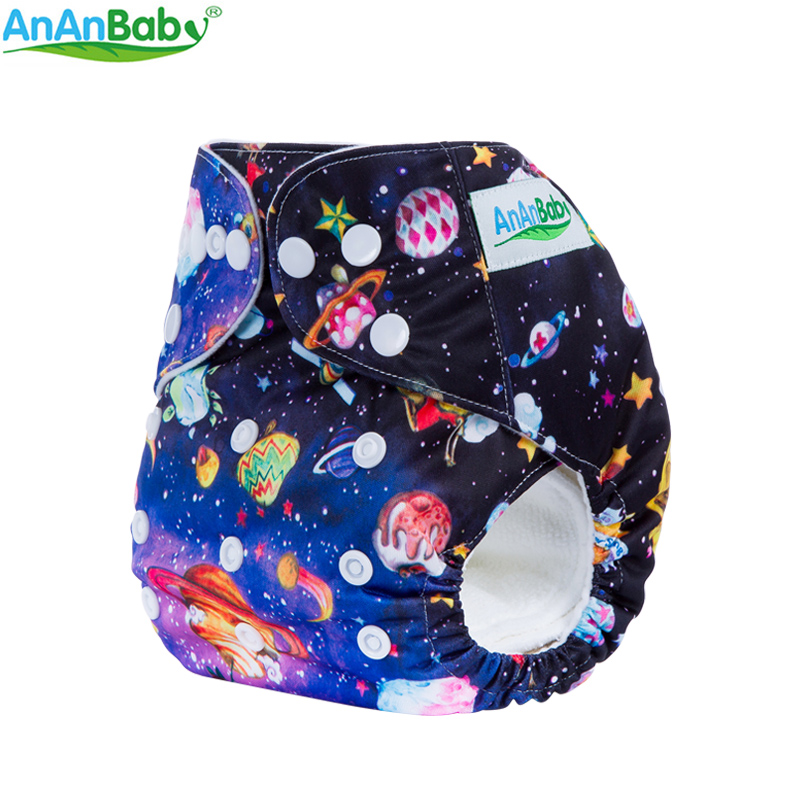 Ananbaby Cloth Diaper Reusable Pocket Nappies Washable Modern Cloth Nappy Pul Lampin Cover 100% Cotton Suit 0-2 Years 3-15KG
