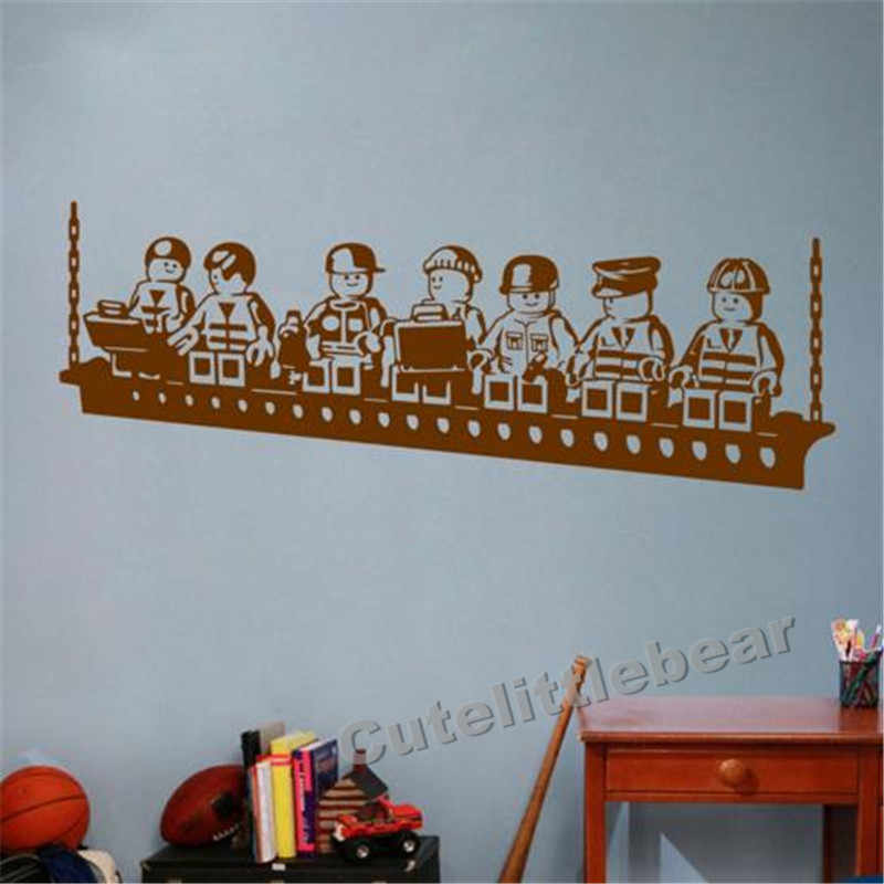 Funny Cartoon Robots Lego Vinyl Wall Sticker Boys Room Wall Art Decals Decor