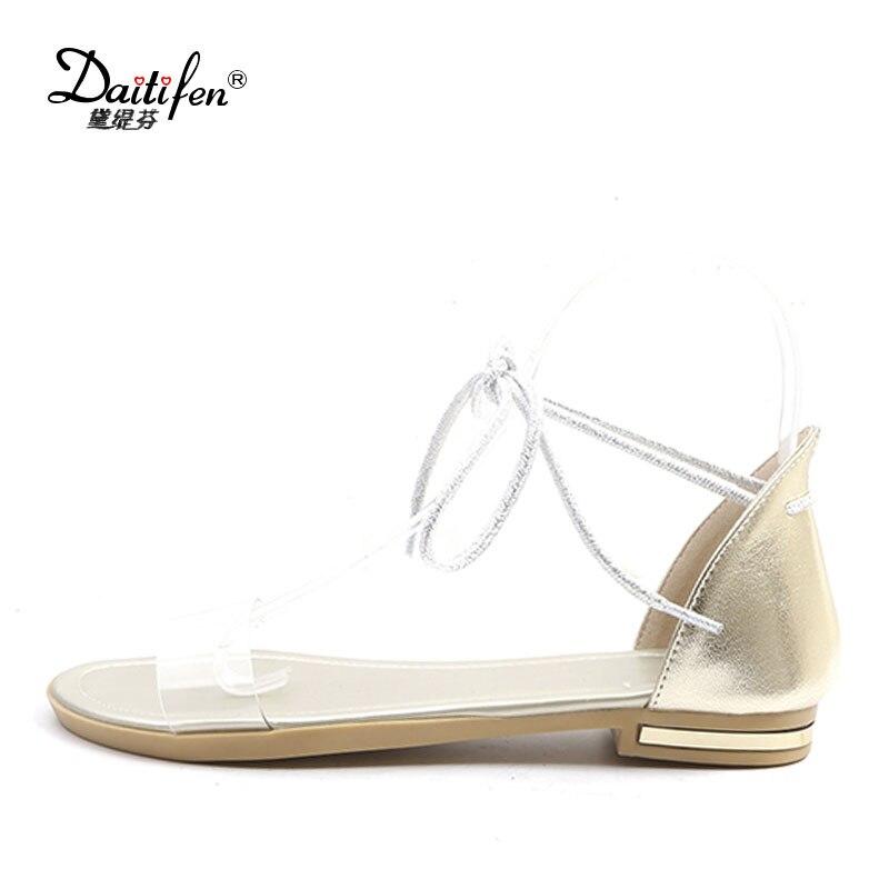 8113638b3018 Daitifen women Ankle strap sandals 2018 Genuine leather concise Transparent  strap Lace-up flat sandals Party lady summer shoes