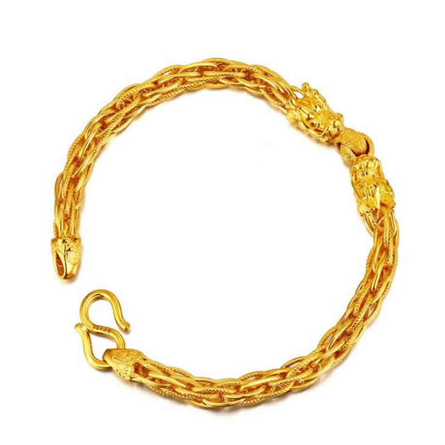 Authentic 999 Solid 24k Yellow Gold Bracelet Pure gold dragon