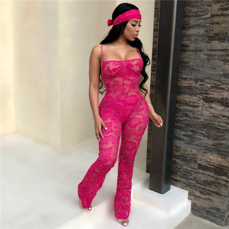 Sexy Solid Color Lace Spaghetti Strap Jumpsuits For Women Night Club Party Overalls 2018 New Stylish Plus Size XXL