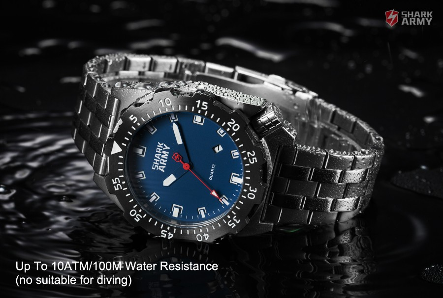 Shark Army Top Brand Man Watch Luminous 10ATM Water Resistant Blue Surfing Military Full Steel Quartz Sport Wristwatches /SAW188 20
