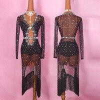 Original Latin Dance Dresses For Ladies Black Red Color Gauze Feminine Clothes Fashion Women Professional Ballroom