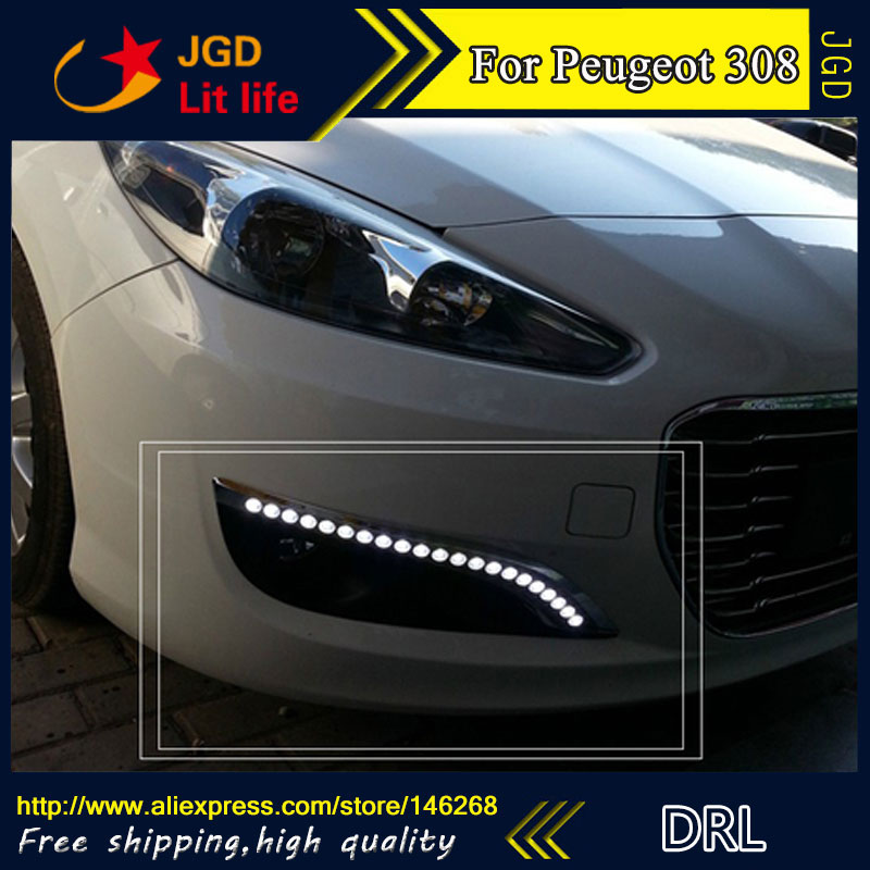 Free shipping ! 12V 6000k LED DRL Daytime running light for Peugeot 308 2012 2013 fog lamp frame Fog light
