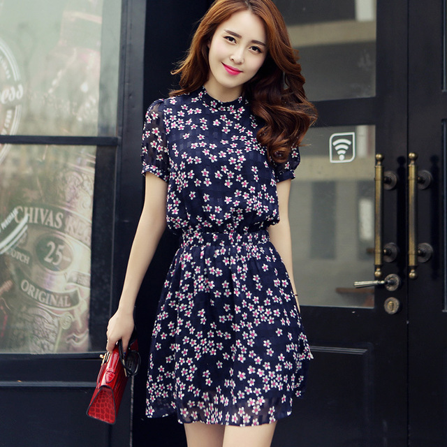 2dac6f4c123 GF103 short fancy semi formal new look mini cute dress work office navy  blue pink short sleeve 2015 summer chiffon dress