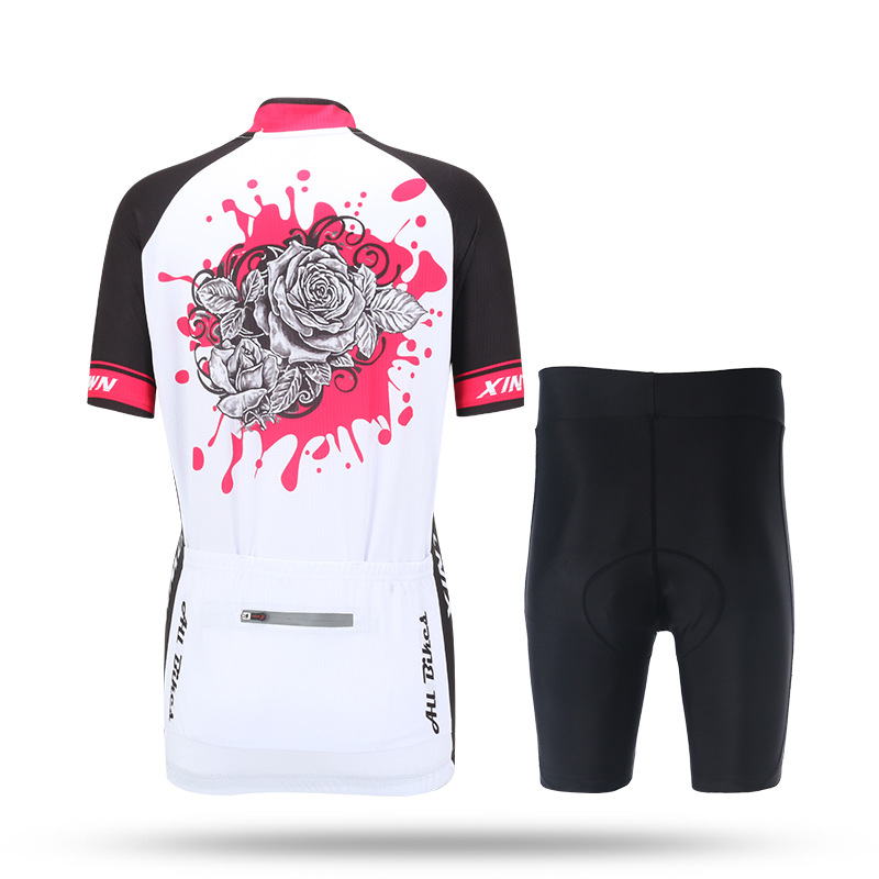 Womens Cycling Sets Pro Cycling Jerseys & Short Kit BIke Bicycle Clothing White Rose