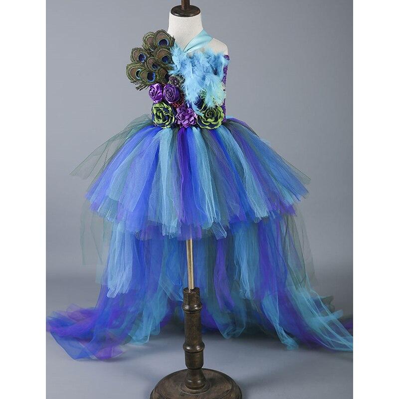 Boutique plume fleur fille robe de soirée robes de mode Train paon filles robes d'anniversaire enfants vêtements de noël W049 - 5
