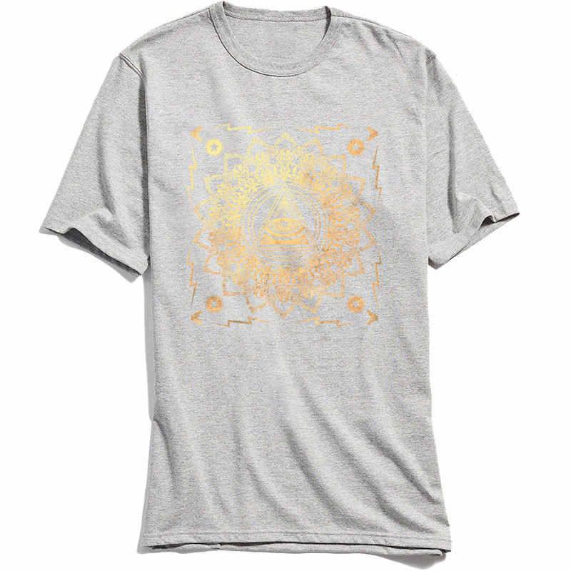 Новый Панк для мужчин футболки Illuminati Классическая футболка 100% хлопок Всевидящее Око Мандала печати короткий рукав футболки Chic