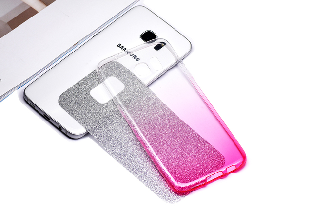 for Galaxy S7 Edge Case Glitter Bling Shinning Soft TPU Gradient Color Back Silicone Case for Samsung Galaxy S7 A3 A5 2016 J5 J7