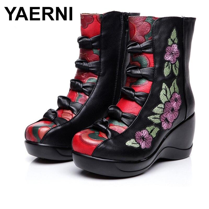 YAERNI 2018 Autumn Winter New Genuine Leather Wedges Shoes Embroidered Flower Medium-leg warm High Heel Boots E303 girls flower embroidered wide leg jumpsuit