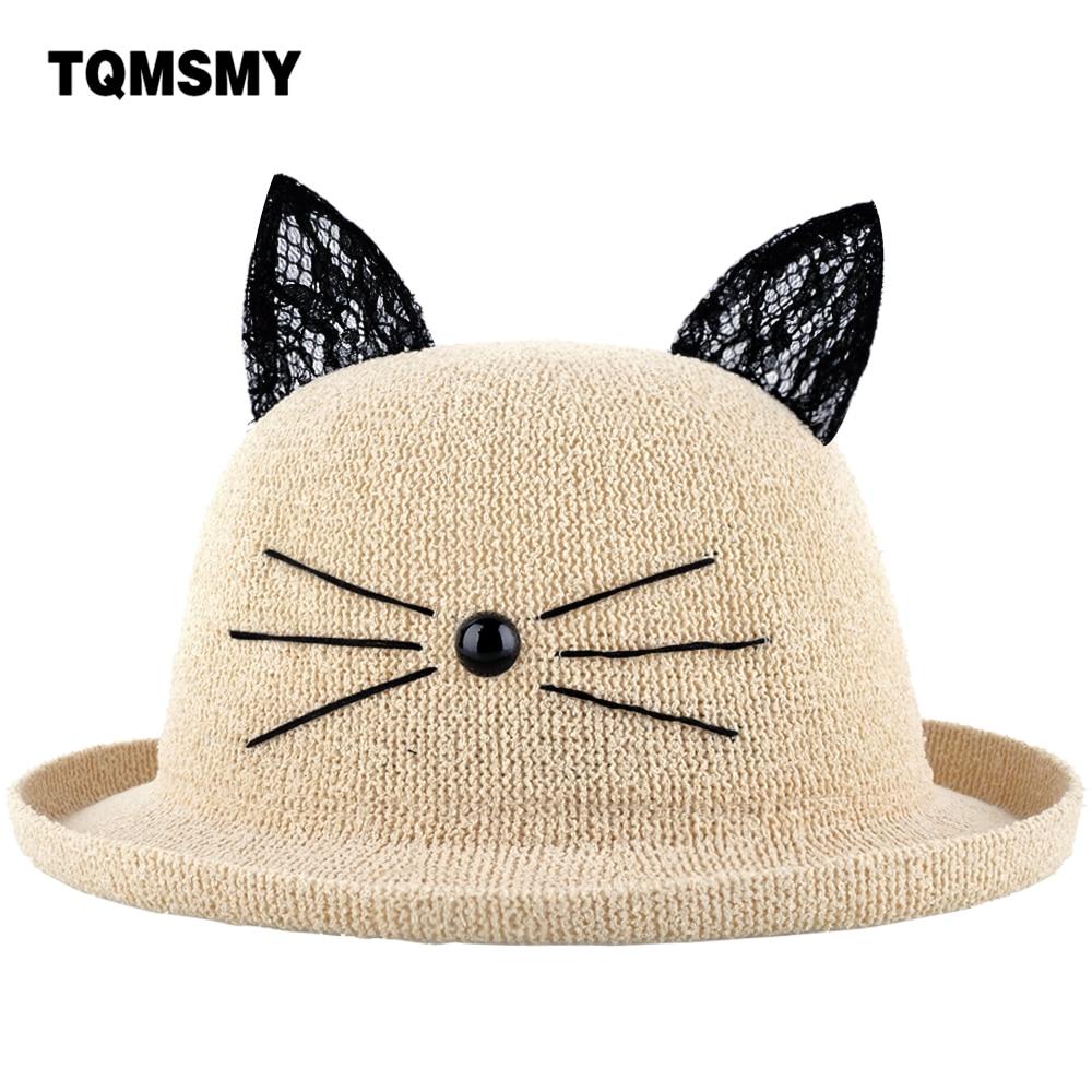 TQMSMY 2018 female cat Straw Hats women Summer lace cat Ear Decoration  Lovely women Sun Hat Solid women s Floppy hats TMSC07 6e8c34d4f6e