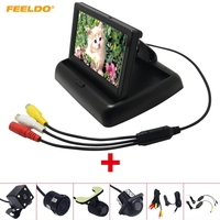 FEELDO 4.3 Foldable TFT LCD Car Rearview Monitor With Reversing Backup Camera Video System 2.4G Wireless & Cigarette Lighter