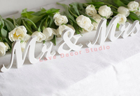 Mr and Mrs wedding wooden decorative freestanding letters white custom colors DIY rustic decor sweetheart table gift idea