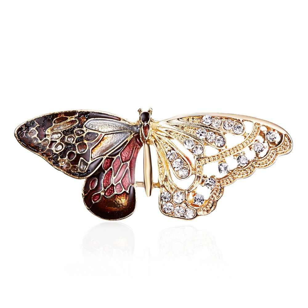 Paduan Ungu Enamel Kupu-kupu Bragonfly Burung Bros Pria dan Wanita Logam Berlian Imitasi Serangga Perjamuan Pernikahan Bros Hadiah